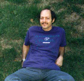 Phil resting on  grass lawn  in Pennsylvania